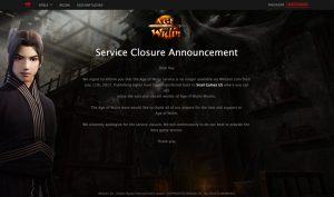 Age of Wulin - Service Closure